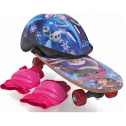 Skate Infantil Frozen Com Kit Segurança