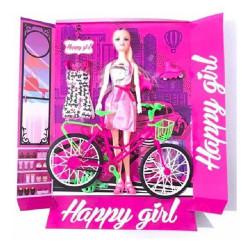 Boneca Happy Girl Bike Tipo Barbie Com Bicicleta E Patins